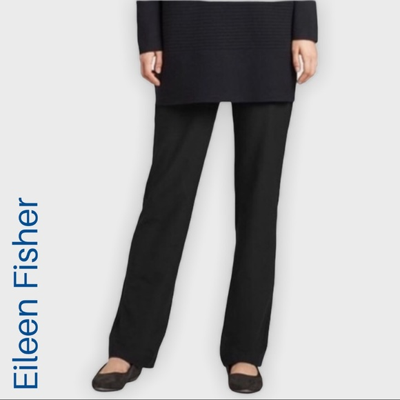 NWT EILEEN FISHER black straight trousers